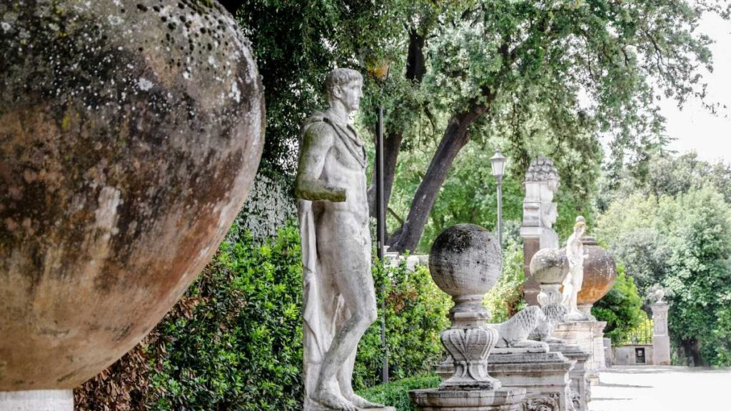 statues in one of parks in Rome